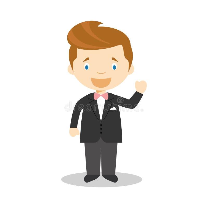 Noivo caucasiano que veste um terno preto na ilustra??o do vetor do estilo dos desenhos animados ilustração royalty free