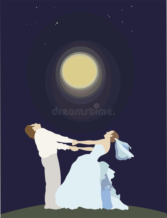Noivo com a noiva ilustração do vetor