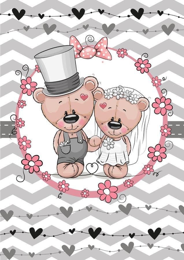 Noivo de Teddy Bride e da peluche ilustração royalty free