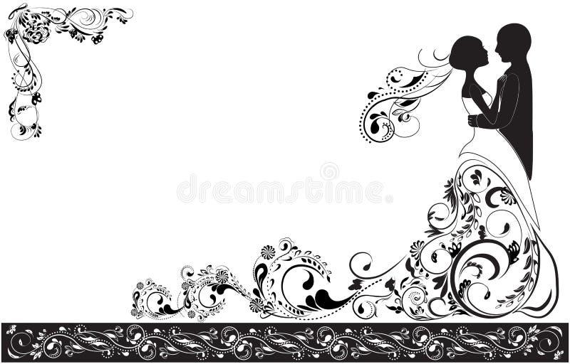 Noivo e noiva ilustração stock