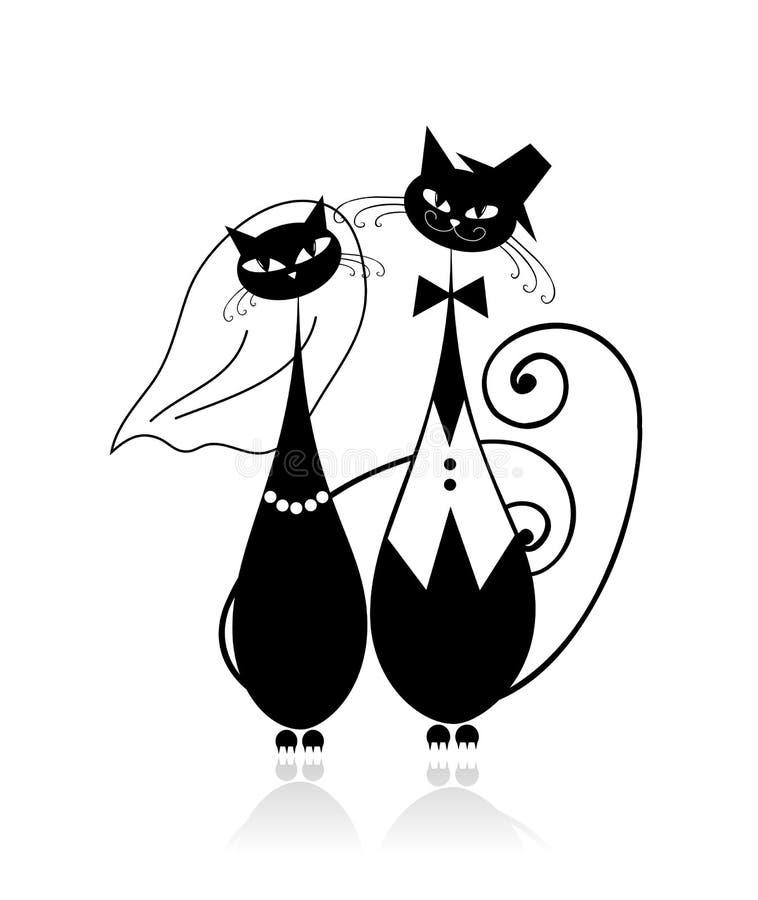 Noivo e noiva, casamento do gato para seu projeto ilustração stock
