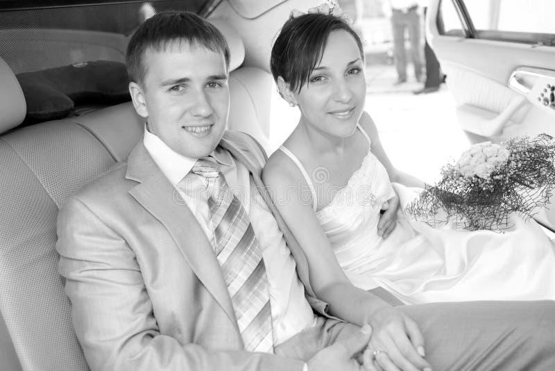 Noivo e noiva de sorriso do retrato fotografia de stock royalty free