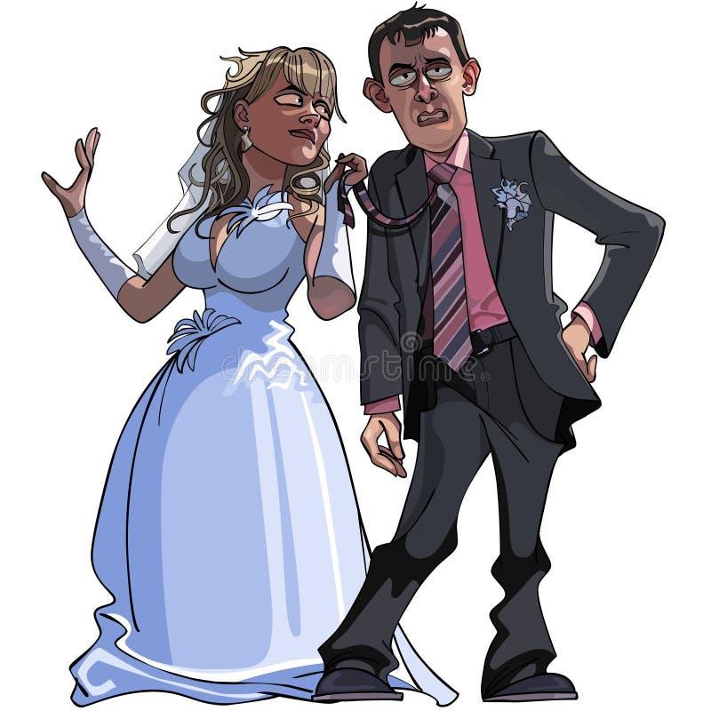 Noivo e noiva dos desenhos animados da caricatura ilustração do vetor