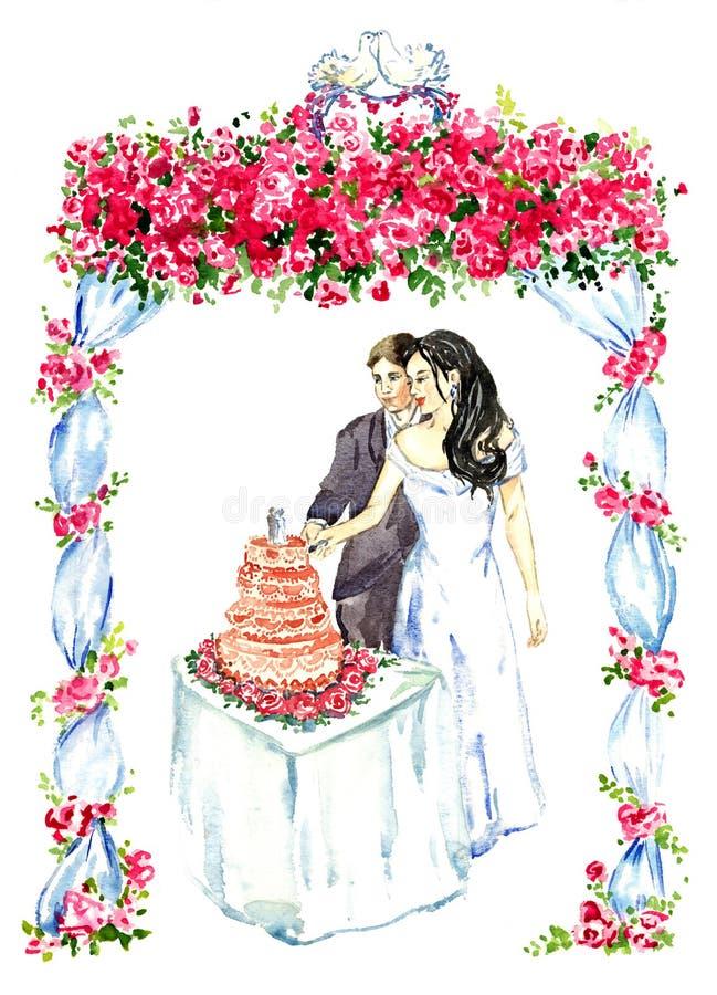 Noivo e noiva que cortam o bolo de casamento cor-de-rosa sob o miradouro decorado com rosas vermelhas e os dois pombos de beijo n ilustração royalty free