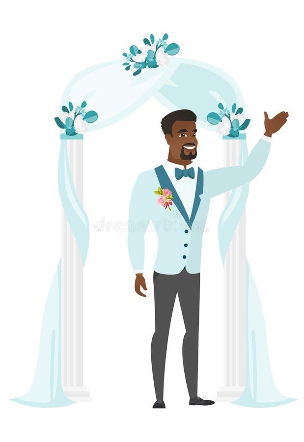 Noivo feliz que está sob o arco do casamento ilustração do vetor