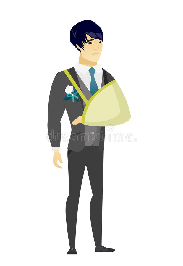 Noivo ferido com braço quebrado ilustração do vetor