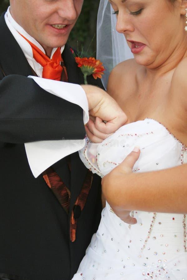 Noivo que ajuda sua noiva imagem de stock