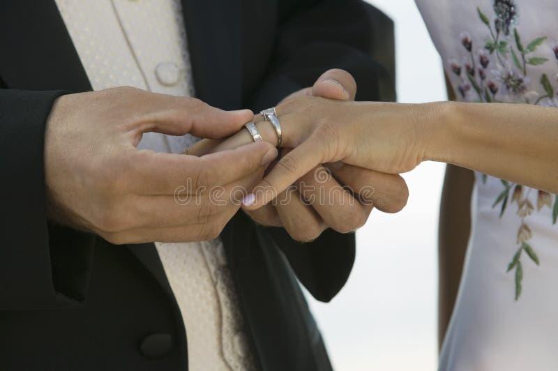 Noivo que coloca o anel no dedo das noivas (close-up) imagem de stock