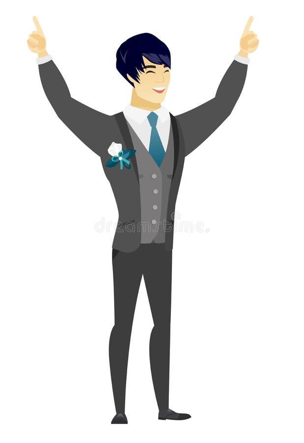Noivo que está com braços aumentados acima ilustração stock