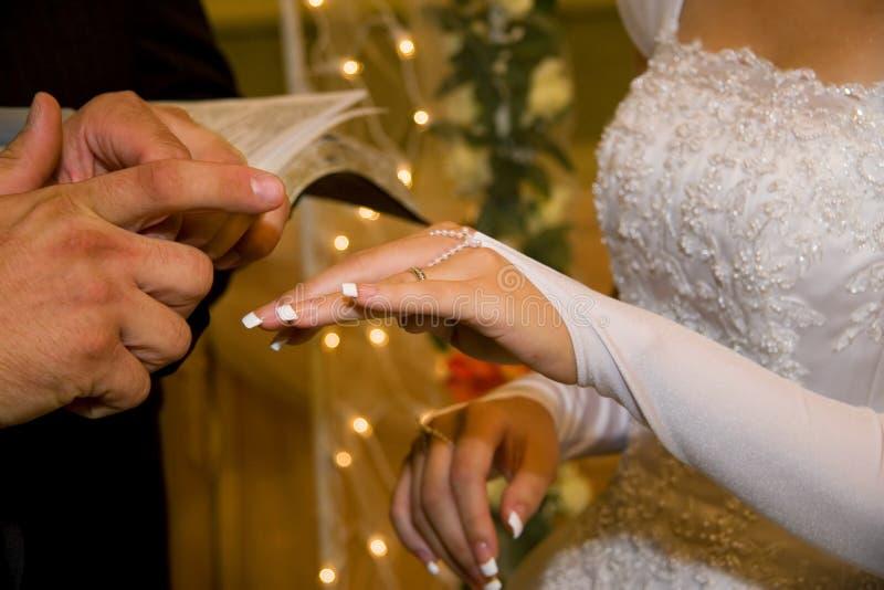 Noivo que põe uma aliança de casamento sobre o bride& x27; dedo de s fotos de stock royalty free