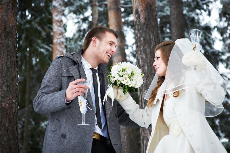 Noivos com vidros do champanhe na floresta do inverno fotografia de stock