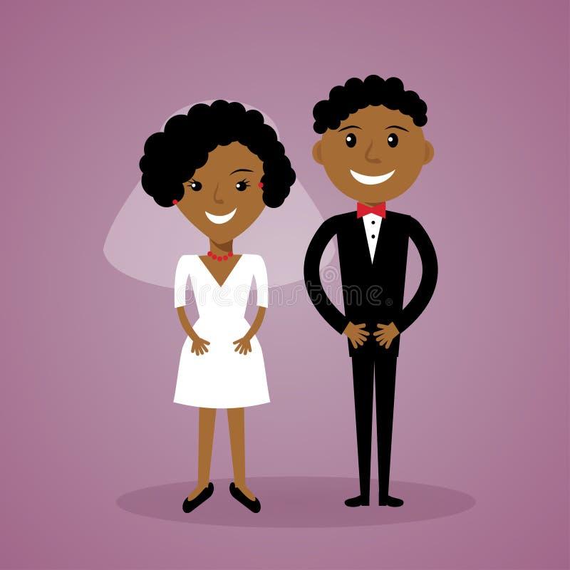 Noivos do afro-americano dos desenhos animados Pares pretos bonitos do casamento no estilo liso Pode ser usado para o convite, sa ilustração stock