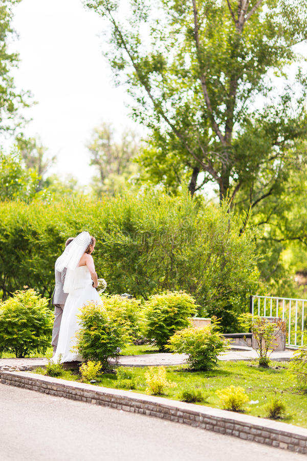 Noivos elegantes fora em um dia do casamento imagem de stock