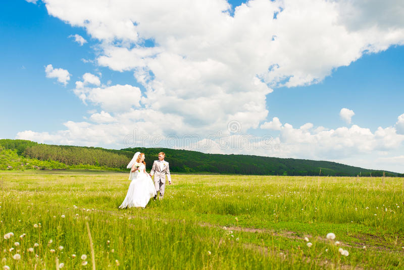 Noivos elegantes fora em um dia do casamento foto de stock
