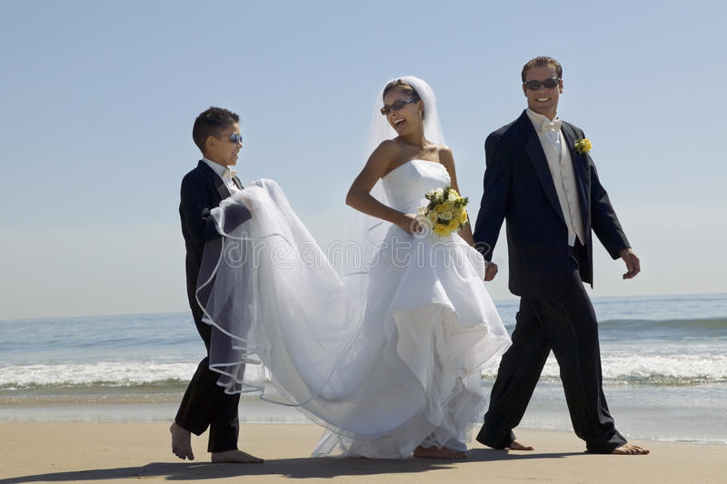 Noivos Embracing On Beach fotos de stock royalty free