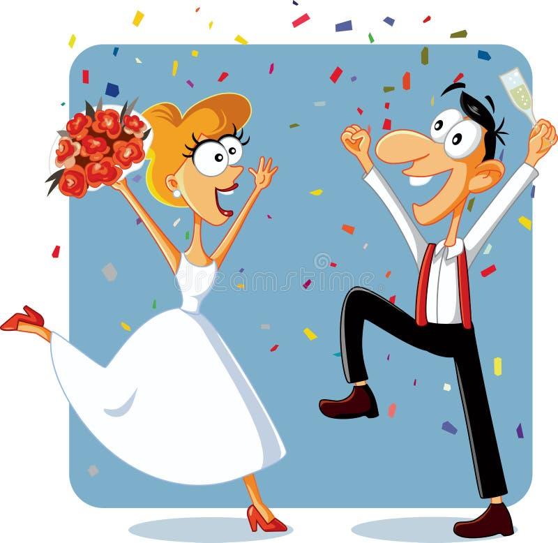 Noivos engraçados Dancing em seu vetor do casamento ilustração do vetor