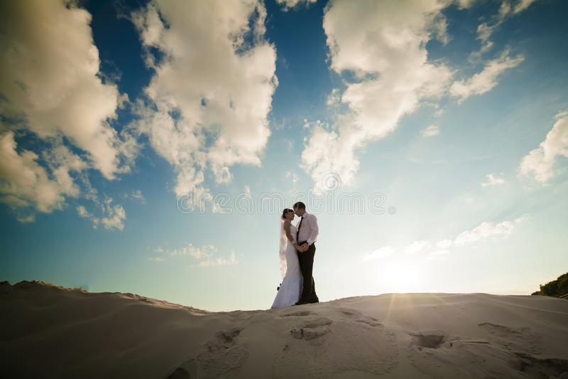 Noivos felizes em uma praia bonita no por do sol foto de stock royalty free