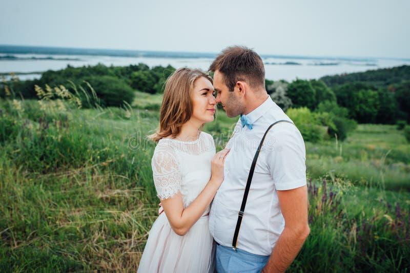 Noivos felizes que andam na grama verde fotos de stock royalty free