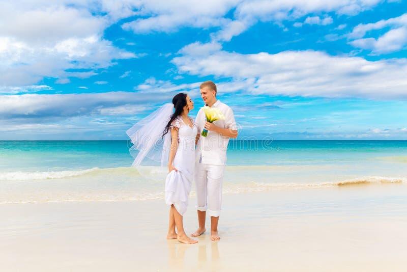 Noivos felizes que têm o divertimento em uma praia tropical foto de stock royalty free