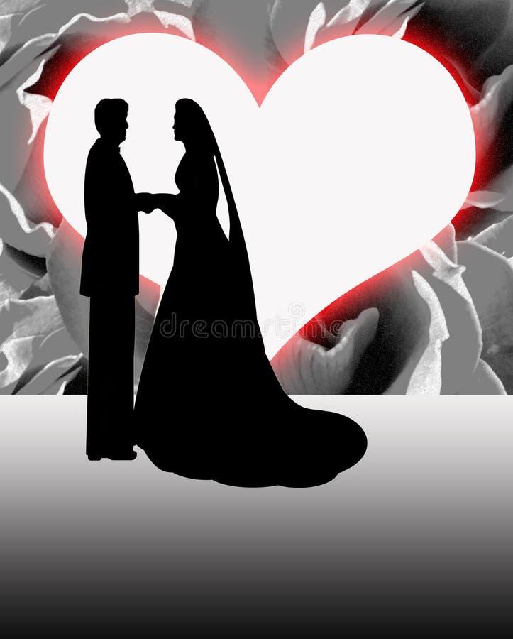 Noivos Heart Shaped Moon da silhueta ilustração royalty free