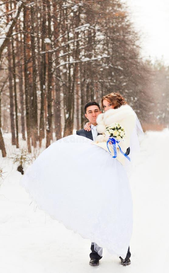 Noivos nas madeiras do inverno fotos de stock royalty free