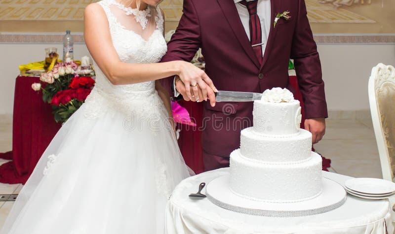 Noivos no copo de água que corta o bolo fotografia de stock royalty free