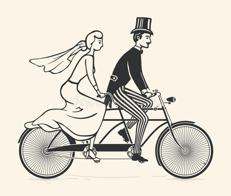 Noivos que montam uma bicicleta do tandem do vintage ilustração do vetor