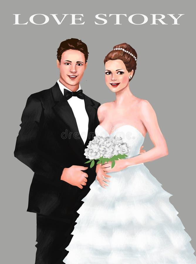 Noivos Wedding Ceremony, união cerimônia, cartão, cumprimento, convite, ser humano, lo do homem da mulher junto ilustração stock