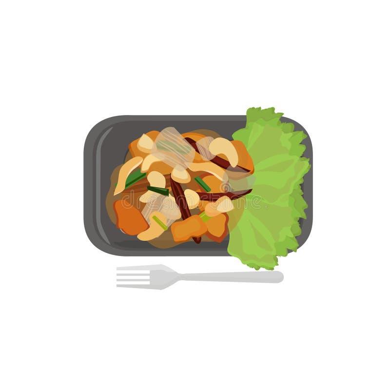 Download Noix De Cajou Chez Le Poulet Fait Sauter à Feu Vif Illustration de Vecteur - Illustration du restaurant, poulet: 56489462