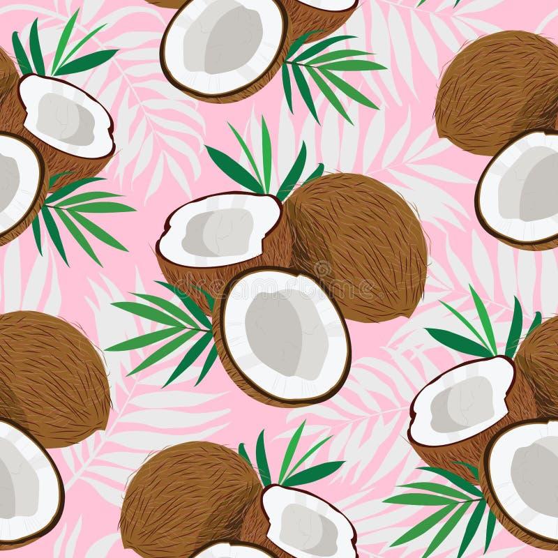 Noix de coco entière et morceau de modèle sans couture avec des palmettes sur le fond rose illustration de vecteur