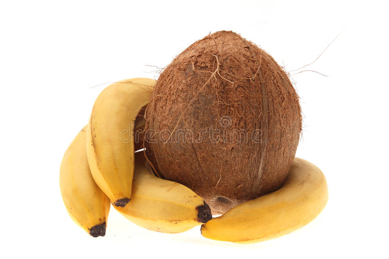 Noix de coco et banane photo libre de droits