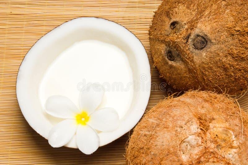 Noix de coco et huile de noix de coco images libres de droits