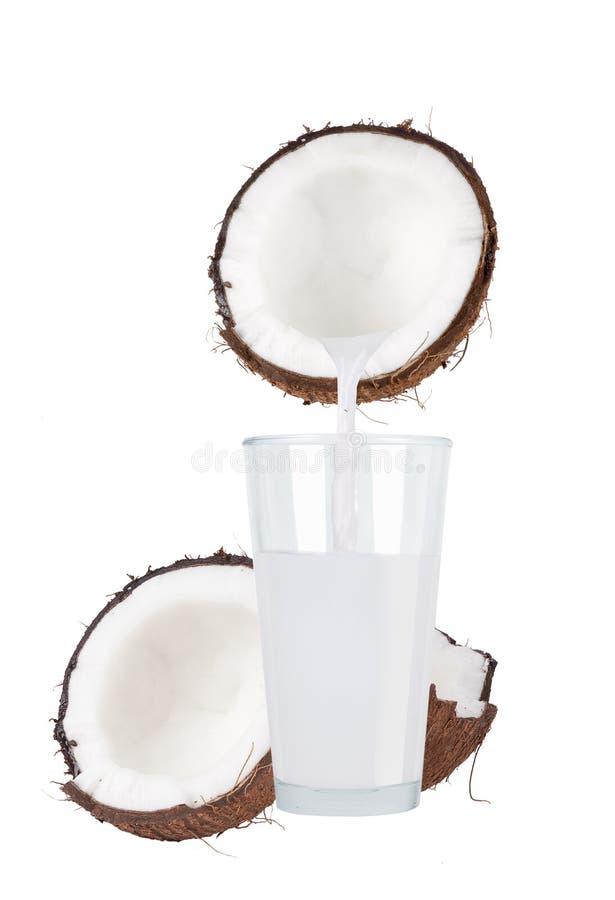 Noix de coco et lait de noix de coco frais en verre image libre de droits