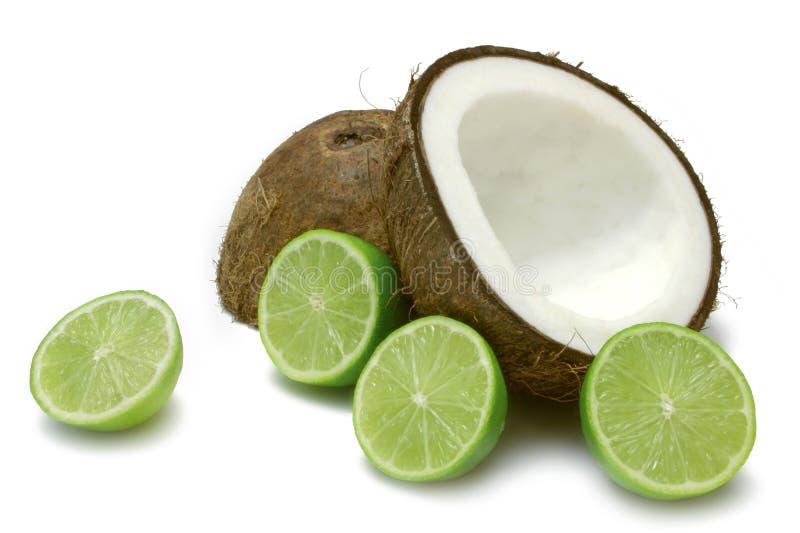 Noix de coco et limette photo libre de droits