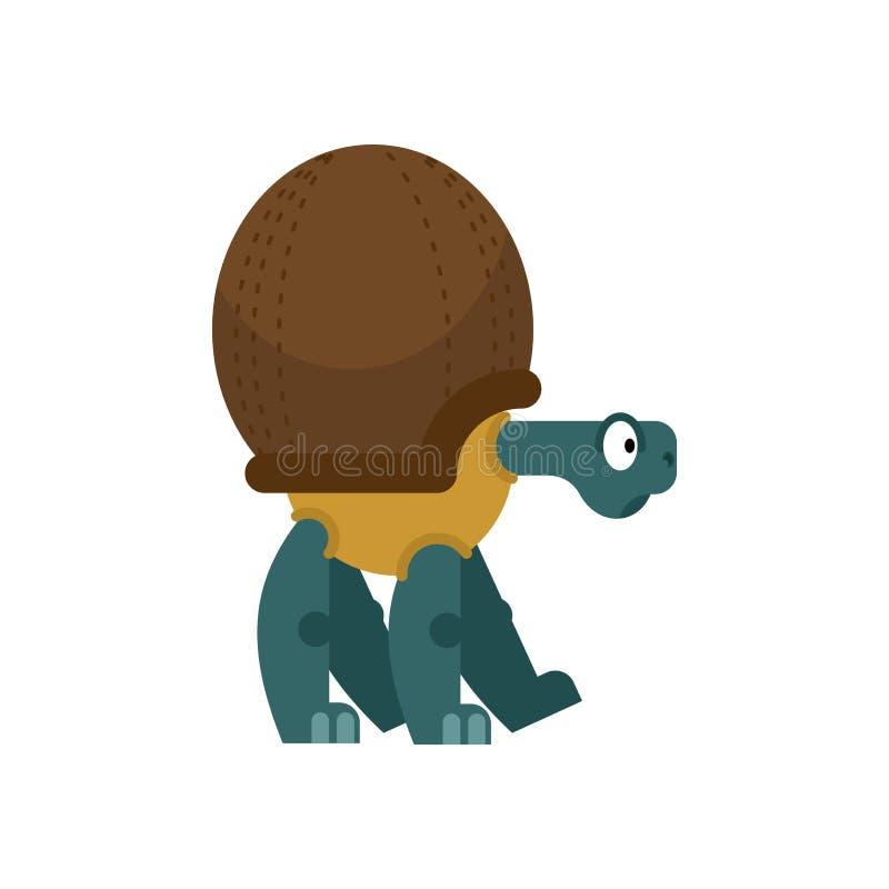 Noix de coco de tortue écaille dans la forme des Cocos reptile tropical de Shell d'écrou illustration stock