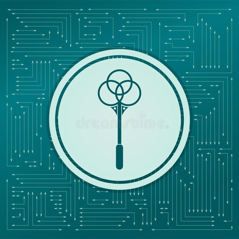 Nokaut dla dywan ikony na zielonym tle z strzała w różnych kierunkach, Ja pojawiać się na elektronicznej desce royalty ilustracja