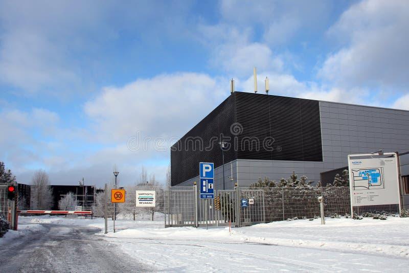 Nokia Factory in Salo, Finland. SALO, FINLAND - CIRCA FEB, 2013: Information at Nokia plant in Salo, Finland circa Feb 2013. EC grants Finland with €5.3m stock photo