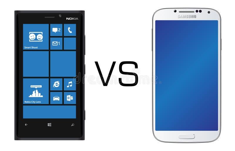 Nokia Lumia 920 black vs Samsung Galaxy S4 black stock image