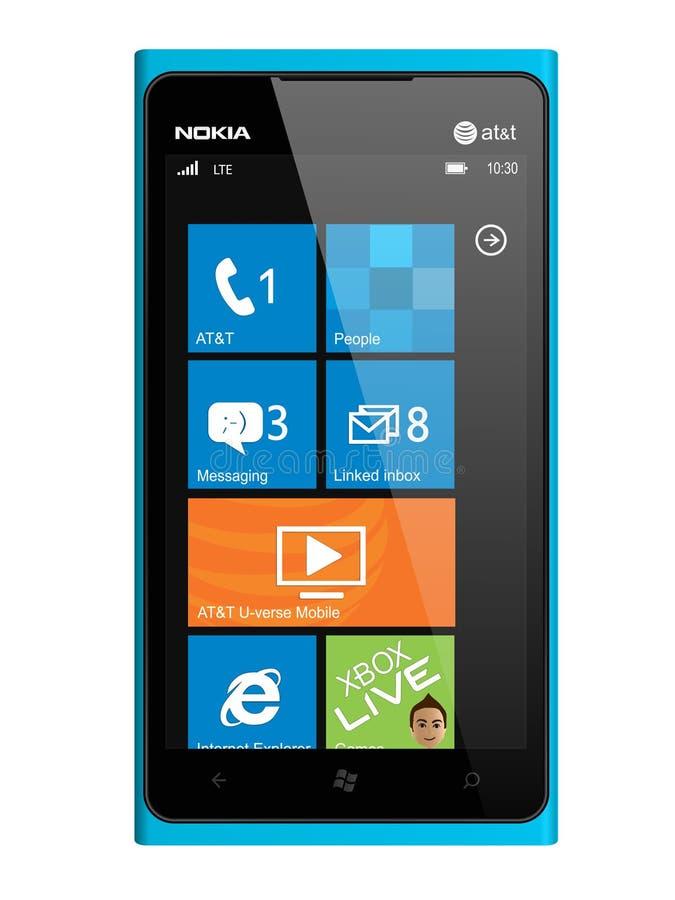 Nokia smartphone Lumia 900. New Nokia smartphone design in blue. Featuring Windows Phone OS, handsets Lumia 900