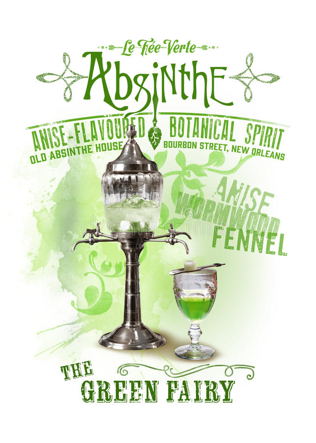 NOLA Collection Absinthe le fond féerique vert photo stock