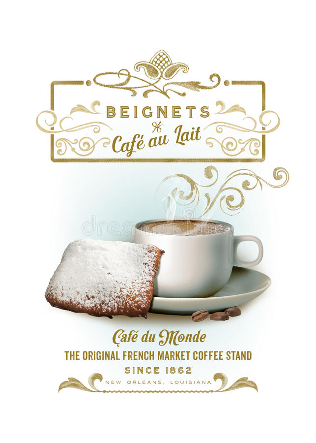 Free NOLA Collection Cafe Au Lait And Beignets Background Stock Photo - 44300090