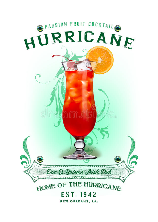 NOLA Collection Hurricane Cocktail Background. The infamous hurricane is more than just a stormy season, it is a powerful rum drink mixed with passion fruit and stock image
