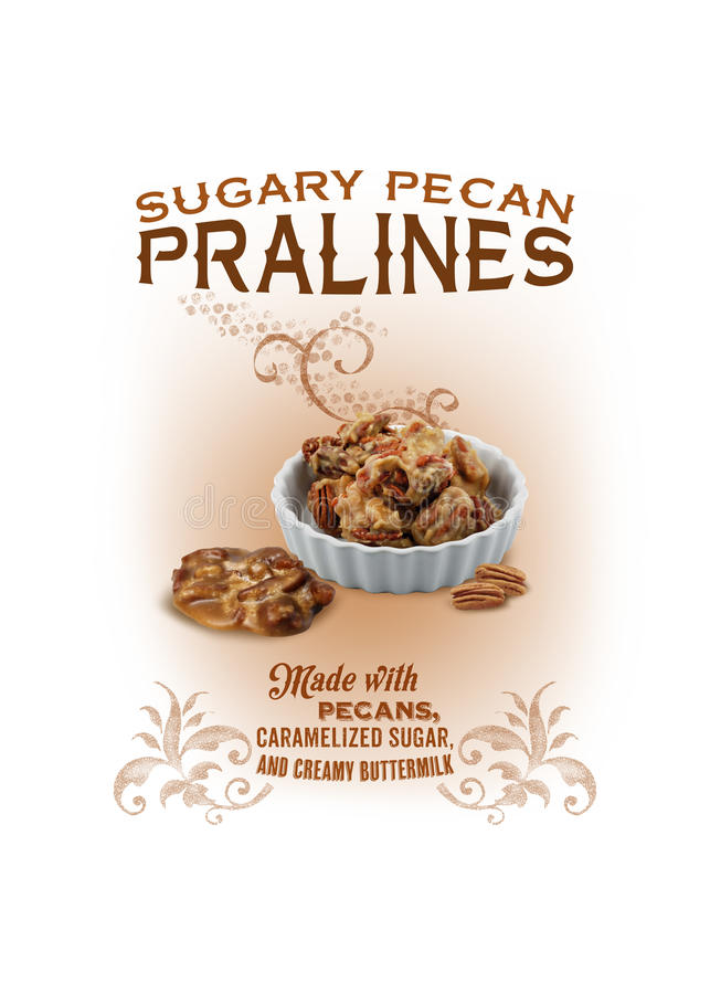 NOLA Collection Louisiana Pecan Pralines Background. Louisiana pecans covered in caramelized sugary goodness! The perfect treat to perk up your day as a snack or royalty free stock image