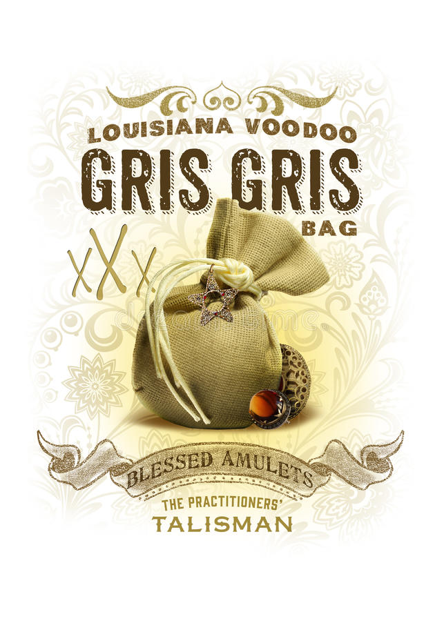 NOLA Collection Louisiana Voodoo Gris Gris Bag Background. Voodoo is a part of the city's heritage, and here in New Orleans, there's good ju-ju in a mojo bag royalty free stock photo