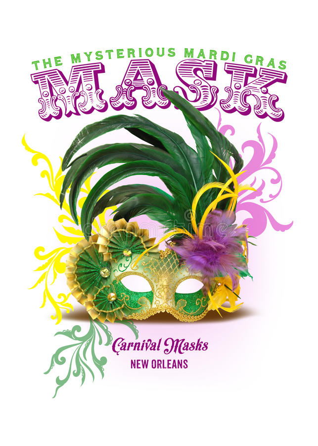 NOLA Collection Mardi Gras Mask Background. Carnival season brings out the creative spirit in revelers throughout the city, and masks are a tradition that spans stock photography