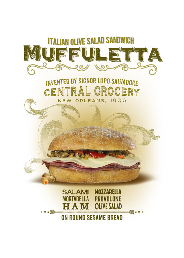 NOLA Collection Muffuletta Sandwich Background. The Italian sandwich stuffed with olive salad, spicy meats, and cheese called the Muffuletta was invented at royalty free stock images