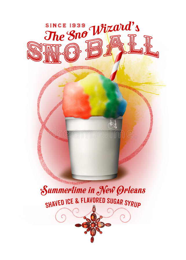 NOLA Collection New Orleans Snowball Background. Summertime in New Orleans is like a sauna bath, so the best way to beat the heat is with shaved ice and sweet royalty free stock images