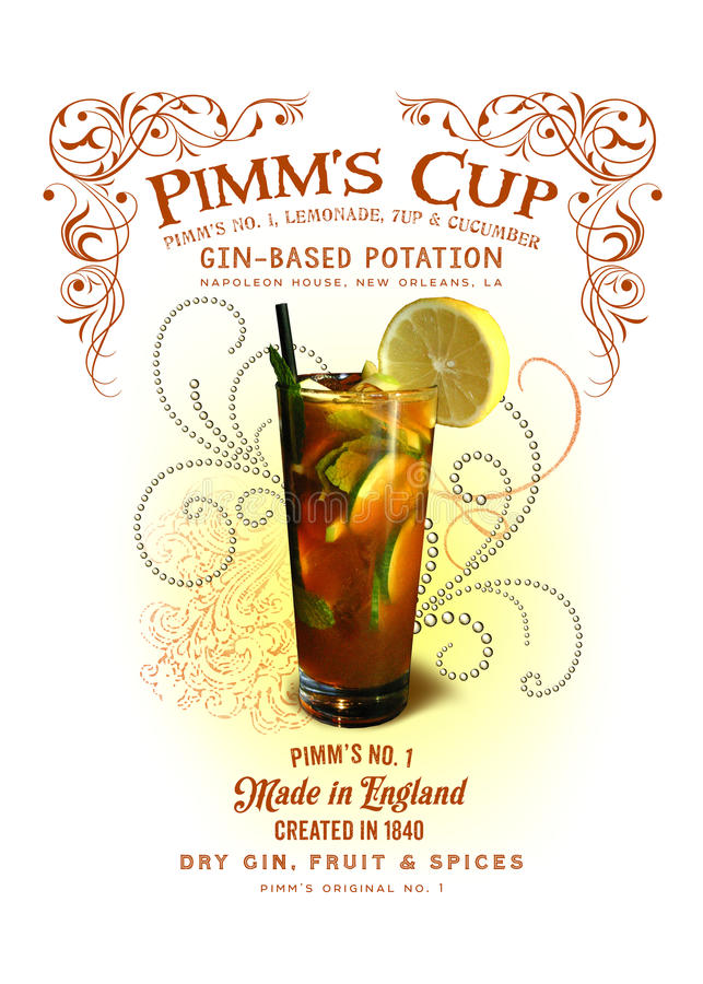 NOLA Collection Pimm's Cup Cocktail Background. One of the most refreshing cocktails made in New Orleans is the cucumber-lemonade-flavored concoction called Pimm royalty free stock photography