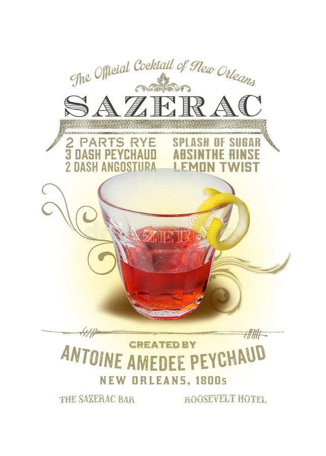 NOLA Collection Sazerac Cocktail Background. As the official cocktail of New Orleans, the Sazerac is a potent concoction best served neat in a glass rimmed with stock image