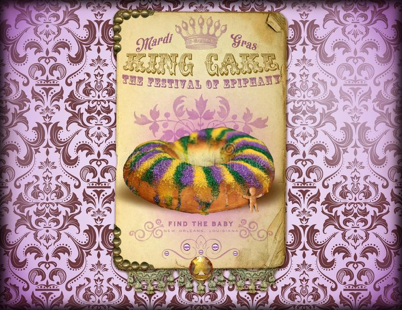 NOLA Culture Collection Mardi Gras-König Cake stock abbildung